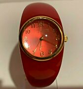 Joan Rivers Classics Acrylic Red Cuff Watch With Hinge Closure