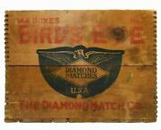 Early 20th C Vint Birdand039s Eye Diamond Matches Red/blue Ink Stamped Wood Box Crate