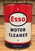 Vintage Nos 1 Qt Esso Motor Cleaner Tin Can Gas And Oil Service Station Unopened
