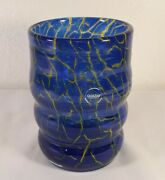 Quazar Studio Art Glass Blue And Yellow Crystal Vase 6 1/4 Signed