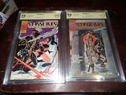 Pacific Comic Starslayer 1 Cbcs 9.4 And 5 7.5 2nd Groo Both Signed By Mike Grell