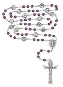 Purple, Stations Of The Cross, Rosary, With A Velvet Rosary Pouch