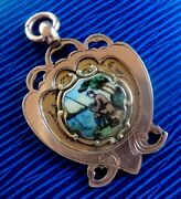 9ct Rose And Yellow Gold Enamel Medal Watch Fob Fishing Angling 1925 Not Engraved