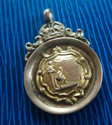 Attractive 9ct Gold Fob Medal / Pendant - Bowling Bowls 1925 Stourport On Severn