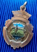 9ct Rose Gold And Enamel Medal Watch Fob - Fishing Or Angling 1928 Not Engraved