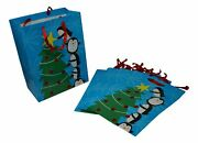 Hoilday Gift Bags - Large Penguins Decorate The Christmas Tree - 6 Bags 10 In.