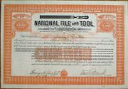 National File And Tool Company 1909 Stock Certificate - Hardware - New Jersey Nj
