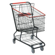 Metal Wire Shopping Cart In Black 20 W X 36 L X 38 H Inches