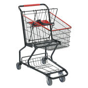Metal Wire Shopping Cart In Black 14 W X 29 D X 35 H Inches