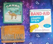 Lot Of 3 Antique Vintage Collectible Tins Band-aid Handi-tape Camel