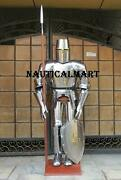 Medieval Suit Of Armor Knight Vintage Shield And Stand Halloween Crusader Templar