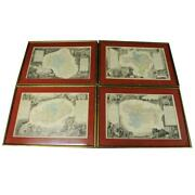 Set Of 4 Framed And Matted Antique French Maps