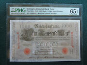 1910 Germany Imperial Bank Note 1000 Mark 44b Pmg 65andnbsp Epq Gem Unc