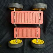 Vintage 70and039s British Leisure Go Toy Peddle Stepper Skate Rare Red Yellow