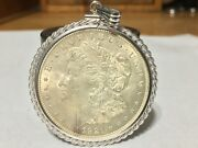 1921 Morgan Silver Dollar With Heavy 925 Bezel For Pendant With 2mm Snake Chain