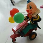 Fedex Ship Alps Vintage Tin Toy Clown On Bike 1960's Made In Japan Wind Up