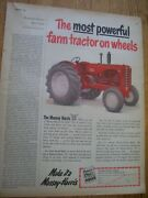 Vintage Massey Harris Advertising Page - Mh  55 Tractor 4 And 5 Plow Power 1952