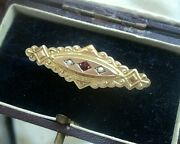 Victorian Etruscan 9ct Gold Ruby And Pearl Brooch Mourning Sweetheart Hair Locket