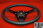 14 Leather Steering Wheel-black Spokes And Hub. Fits Triumph Spitfire 62-76