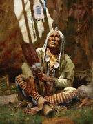 Holy Man Of The Blackfoot - Signed Limited Edition Canvas - Howard Terpning