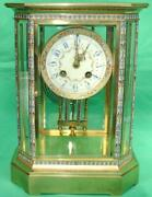Japy Freres French 8 Day Cloisonne Crystal Regulator 8 Glass Table Clock