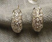 Small Sterling And Rhinestone Demi Hoop Earrings With 14k Gold Posts Signed Roman