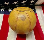 Vintage 1930s Spalding Leather Medicine Ball Boxing Training Antique Deadstock