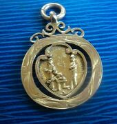 Attractive 9ct Rose Gold Fob Medal - Bowling Bowls H/m 1926 B'ham - Not Engraved