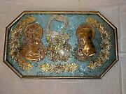 Antique Vtg Framed Religious Icons Jesus Mary Home Blessings Behind Bubble Glass