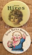Pair Of 2 Antique Hires Root Beer Soda Pop Promotional Advertising Mirrors Sign