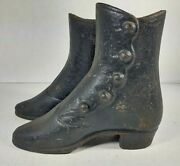 Antique Cast Iron Ladies Victorian Boots For Mannequin Store Display Matched Pr