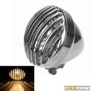 Polish Motorcycle Finned Grilled Headlight Head Lamp For Harley Chopper Bobber