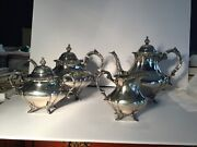 Reed/barton Georgian Rose 4 Piece Sterling Silver Tea Set In Excellent Condition