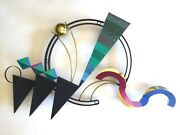 Curtis Jere Post Modern 1990and039s Memphis Style Abstract Metal Wall Art Sculpture