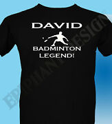 Personalised Badminton T-shrt Mens Ladies Gift Idea Add Name And Number On Back