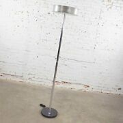 Vintage Modern Chrome Triple Shaft Floor Lamp With Perforated Metal Ring And Glass