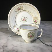 New Hall Bone China Coffee Cup And Saucer Pink Roses C. 1825-30