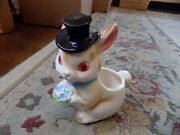 Vtg Rare Lefton Easter Bunny White Rabbit W/ Top Hat Bow Tie And Flowers Planter
