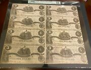 T-36 1861 5 Uncut Sheet Csa Paper Money - Pmg About Uncirculated 53 - 1 Of 2