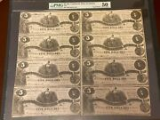 T-36 1861 5 Uncut Sheet Csa Paper Money - Pmg About Uncirculated 50 - 1 Of 2