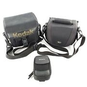 Camera Carrying Bags And Pouch Lot Of 3 Lowepro Edit 110, Kodak, Sony
