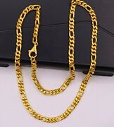 22kt Yellow Gold Fabulous Figaro Link Chain Necklace Unisex Royal Jewelry India