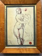 Leda And The Swan After Raphael 18th-19th Century Maple Frame Collection Seal