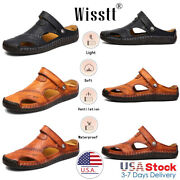 Black Menand039s Leather Sports Fisherman Sandals Holiday Shoes Beach Summer Slippers