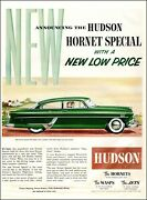 1950 Classic Car Ad Hudson Hornet Wasps And Jets , Green 2 Dr , Nice 031820
