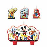 Mickey Mouse On The Go Mini Candle Set 4pc Birthday Party Supplies Toppers
