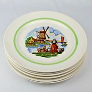 6 Vintage Ceramic Pottery Dinner Plates - Windmill And Dutch Girl Carrying Water