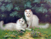 Persian Cats Antique Oil Painting White Kittens In Landscape High Academic