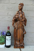Antique Xl Flemish Wood Carved Statue Religious Mary Burgundy Signed Artist