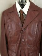 Menand039s Vtg Brown Leather Coat Fury Zip Out Liner Bermanand039s 48r Jacket